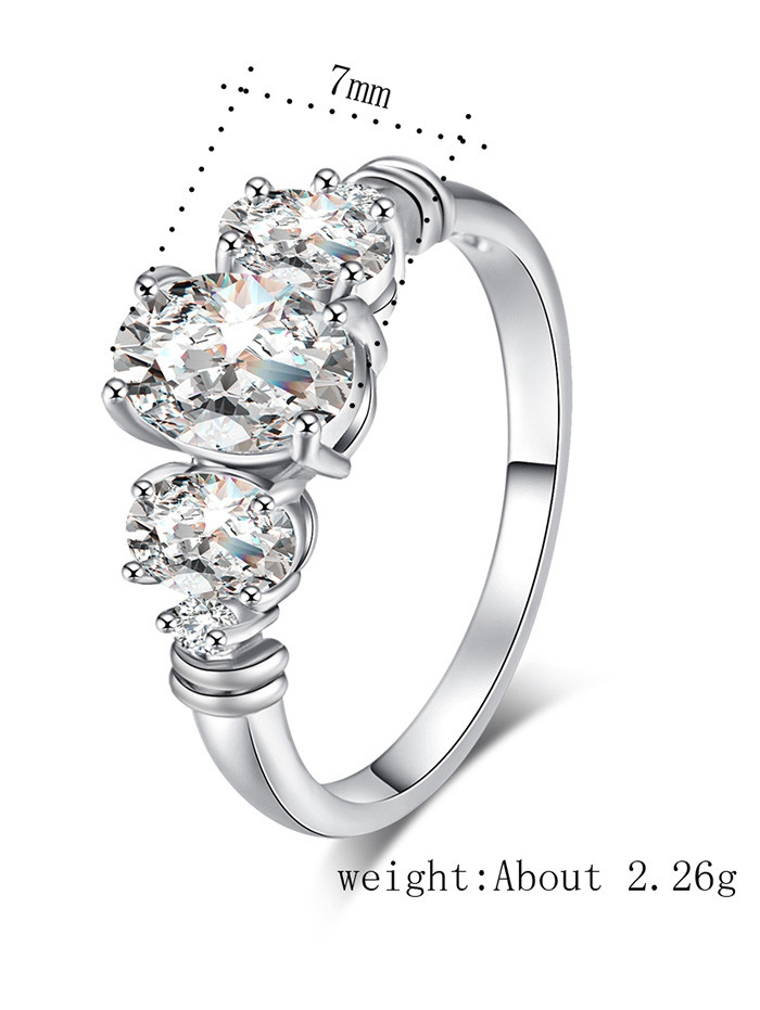 Oval Zircon Embellished Metal Ring SILVER 6