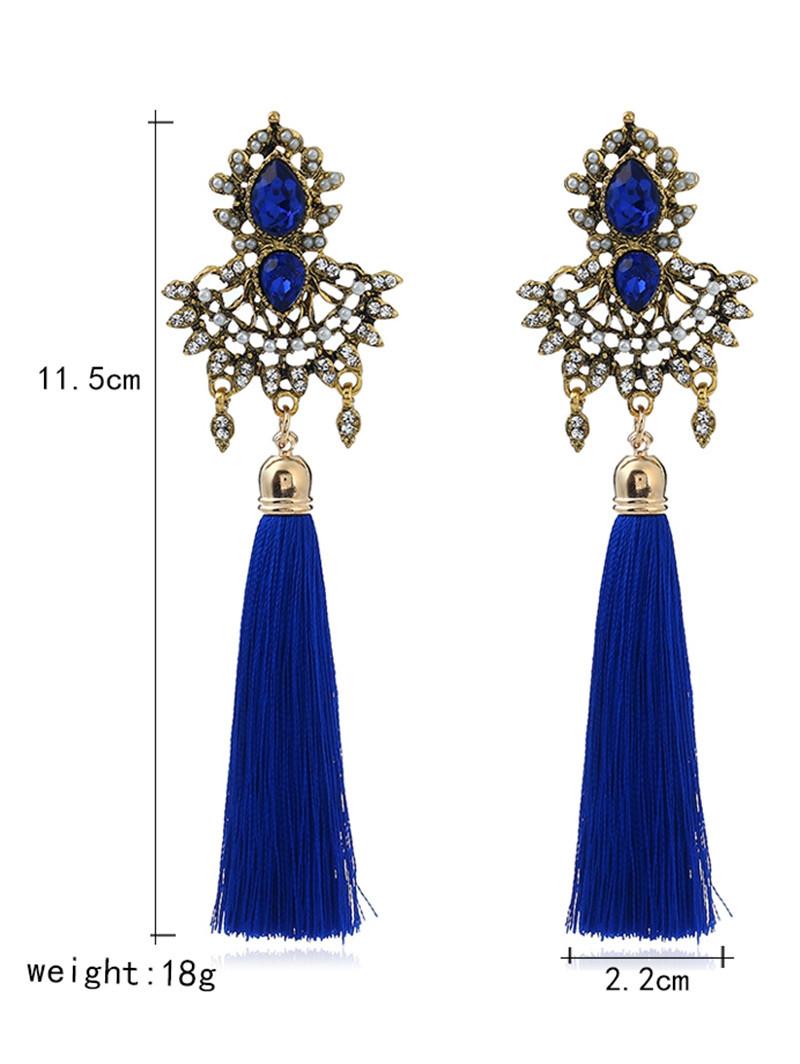 Faux Sapphire Rhinestone Tassel Earrings BLUE