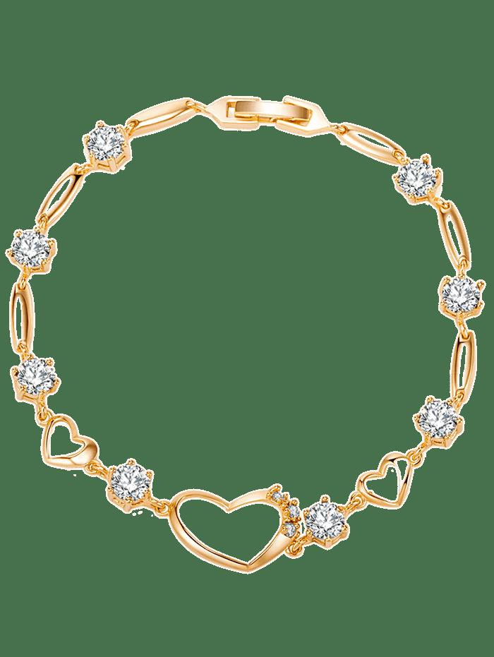 Rhinestone Embellished Hollow Heart Bracelet WHITE