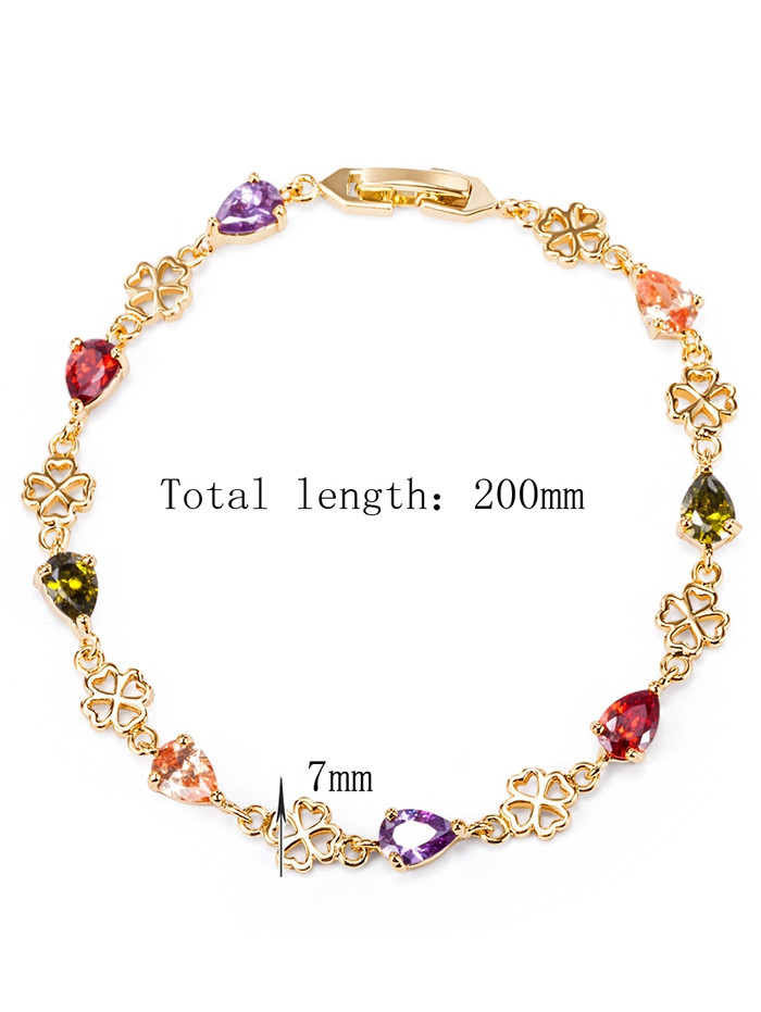 Water Drop Rhinestone Embellished Flower Bracelet COLORFUL