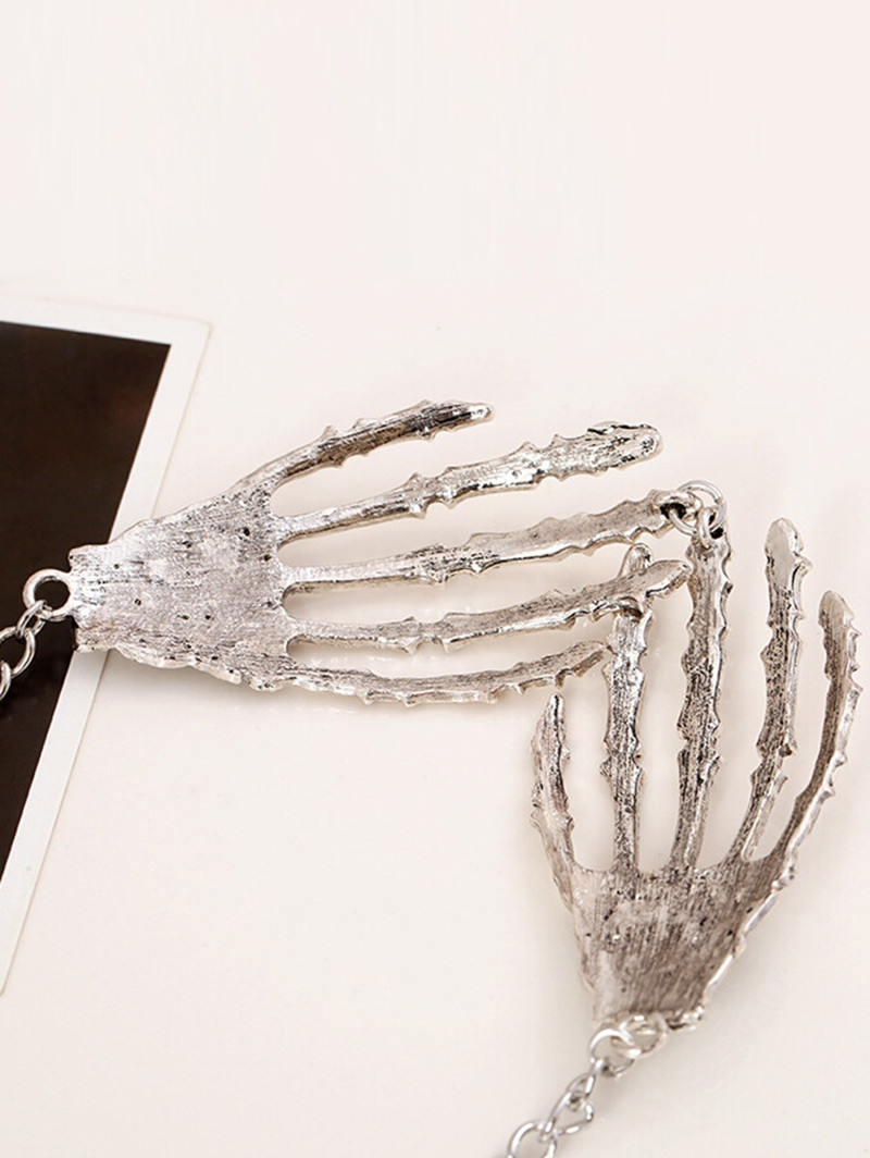 Halloween Punk Metal Skeleton Hand Necklace SILVER