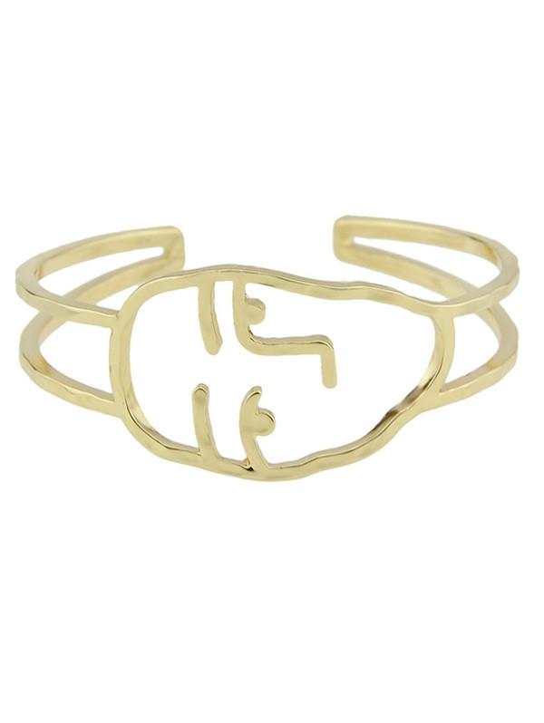 Funny Face Alloy Cuff Bracelet GOLDEN