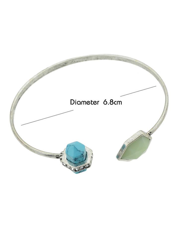 Geometry Faux Sapphire Cuff Bracelet SILVER