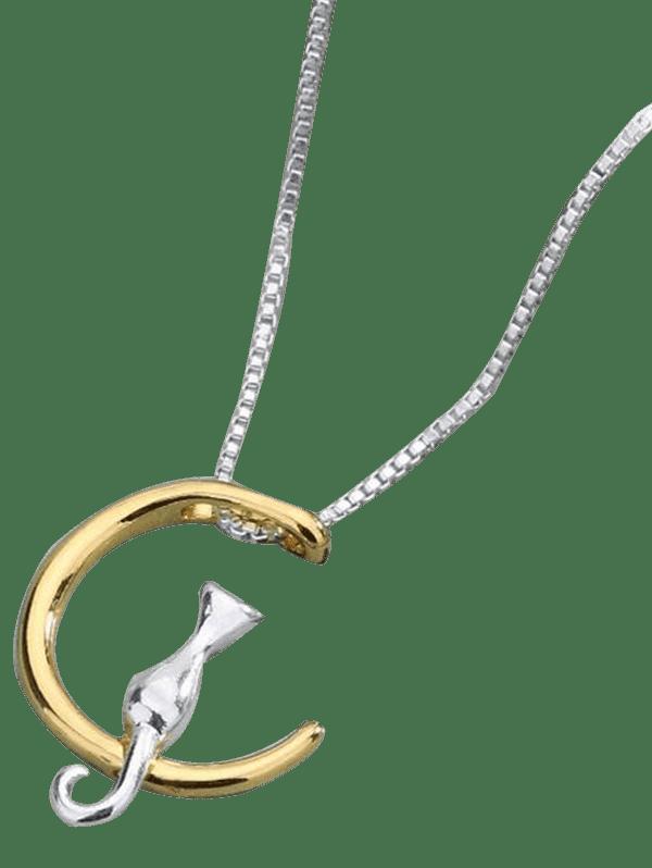 Moon Kitten Collarbone Pendant Necklace  GOLDEN
