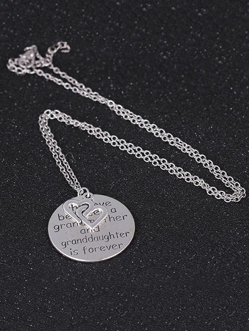 Heart Engraved Family Forever Pendant Necklace SILVER