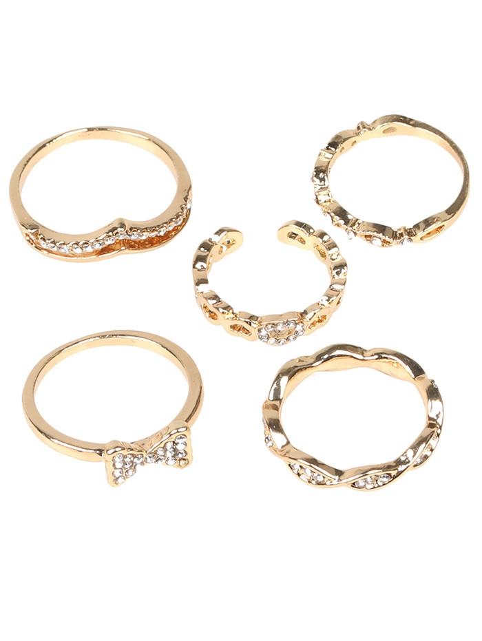 Rhinestone Bows Heart Infinite Ring Set GOLDEN