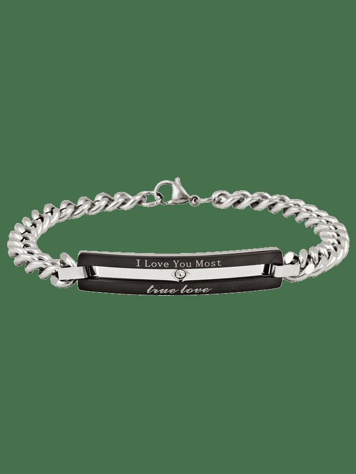 Romantic Letter Carving Metal Bar Embellished Titanium Steel Bracelet BLACK