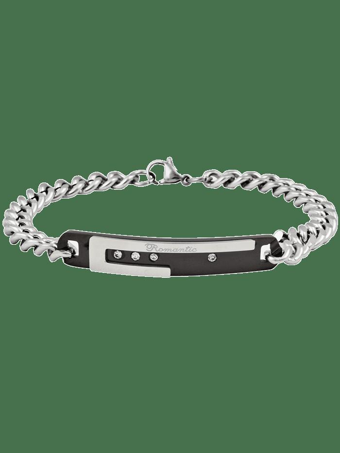 Romantic Letter Carving Rhinestone Inlay Embellished Titanium Steel Bracelet  BLACK