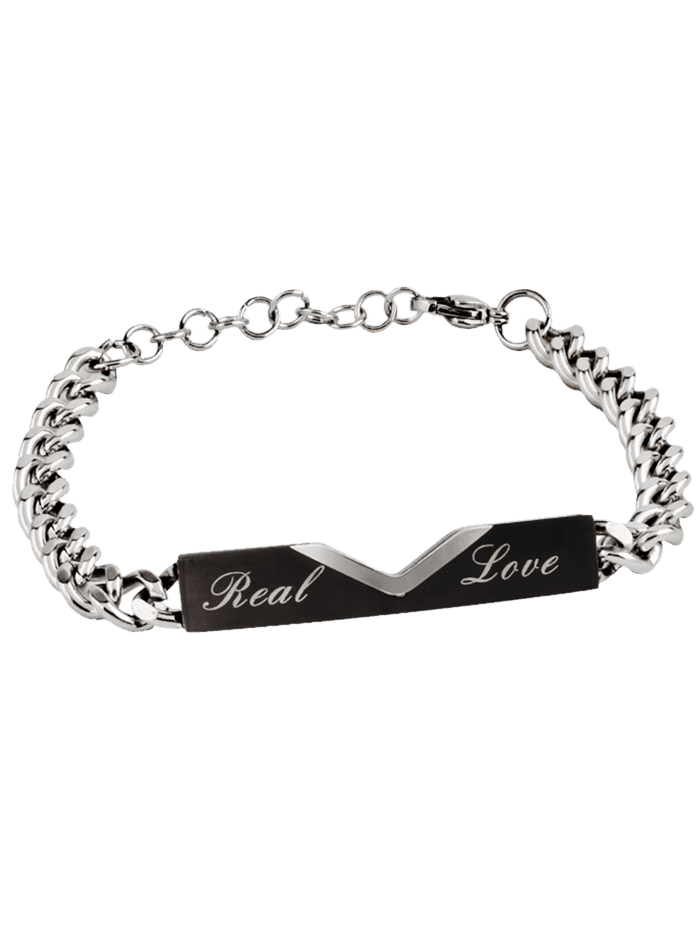 Vintage Real Love Carving Titanium Steel Couples Bracelet BLACK