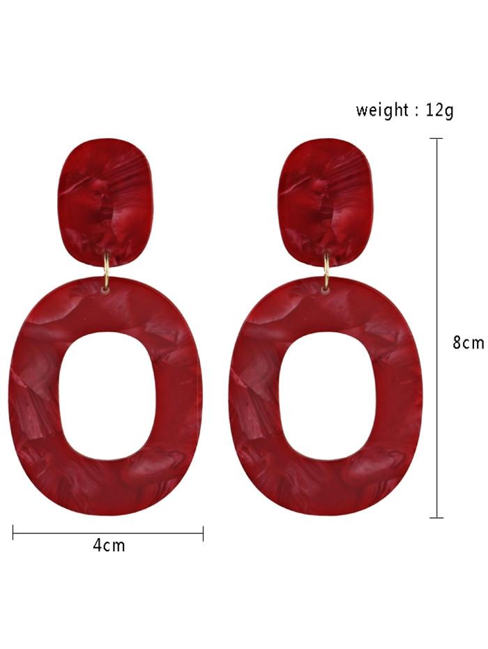 Resin Oval Geometric Drop Earrings RED