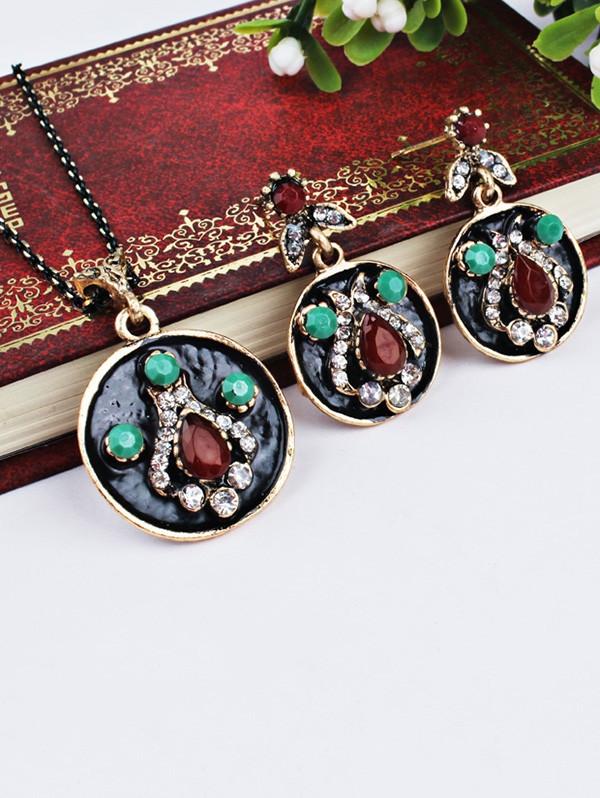 Faux Gem Teardrop Round Jewelry Set RED