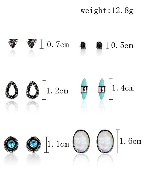 Bohemian Faux Gem Turquoise Stud Earring Set PATTERN A