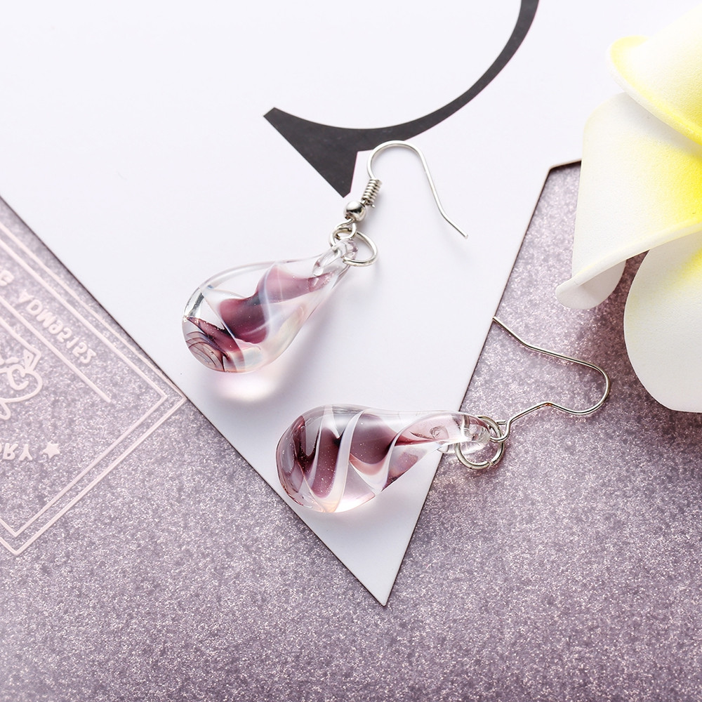 Ethnic Style Charm Jewelry Coloured Glaze Water Droplets Drop Earrings PURPLE