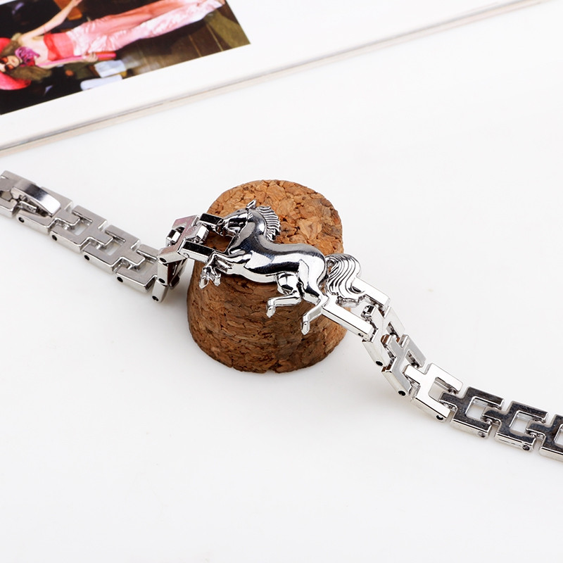 Simple Style Horse Shaped Watch Chain Bangles Titanium Steel Bracelets SILVER