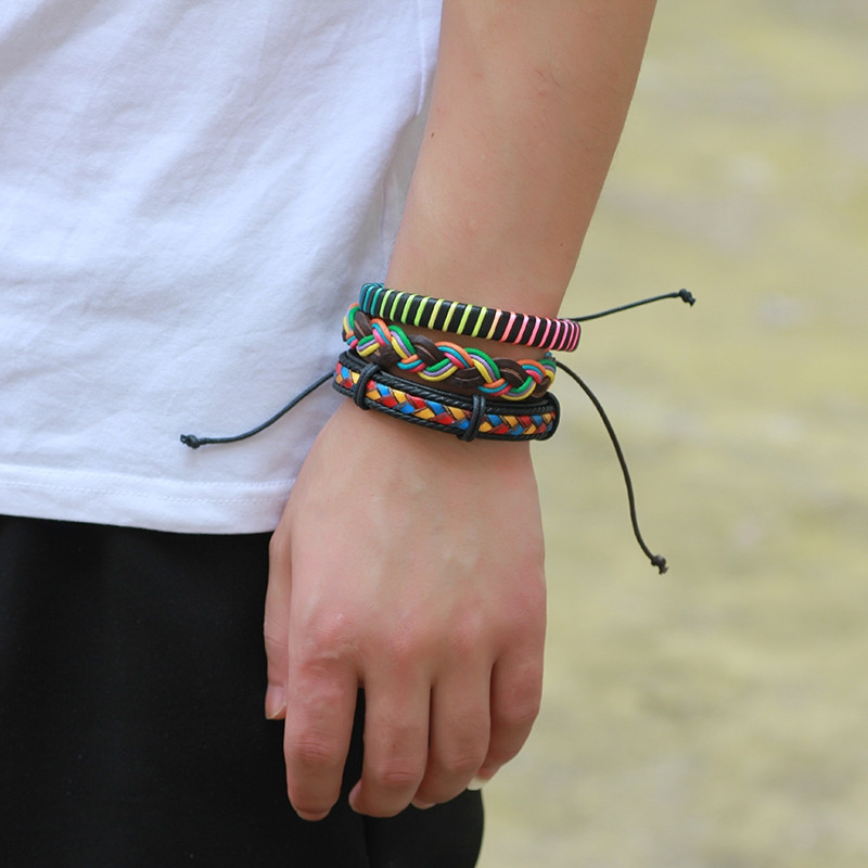 Leather Colorful Wax Rope Woven Bracelets 3 Pcs MULTICOLOR
