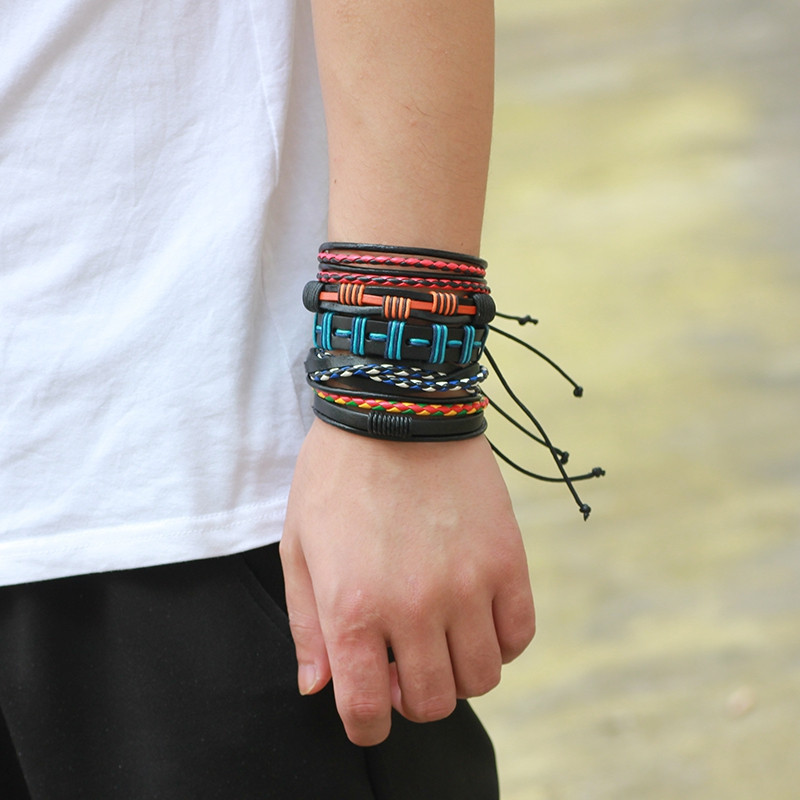 5 PCS Colorful Snake Hand Woven Leather Bracelet MULTICOLOR