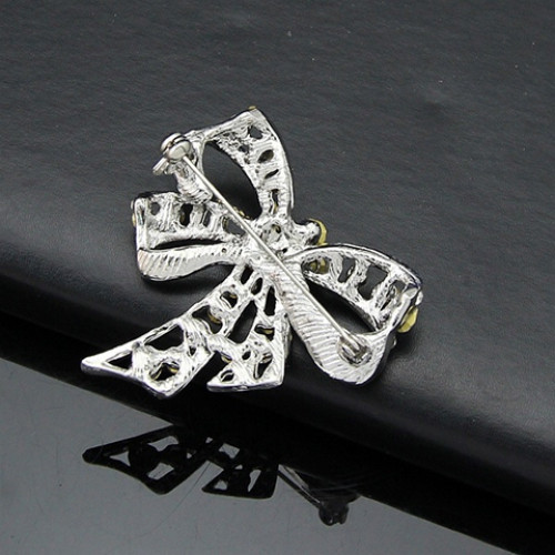 Rhinestoned Hollow Out Bow Brooch WHITE