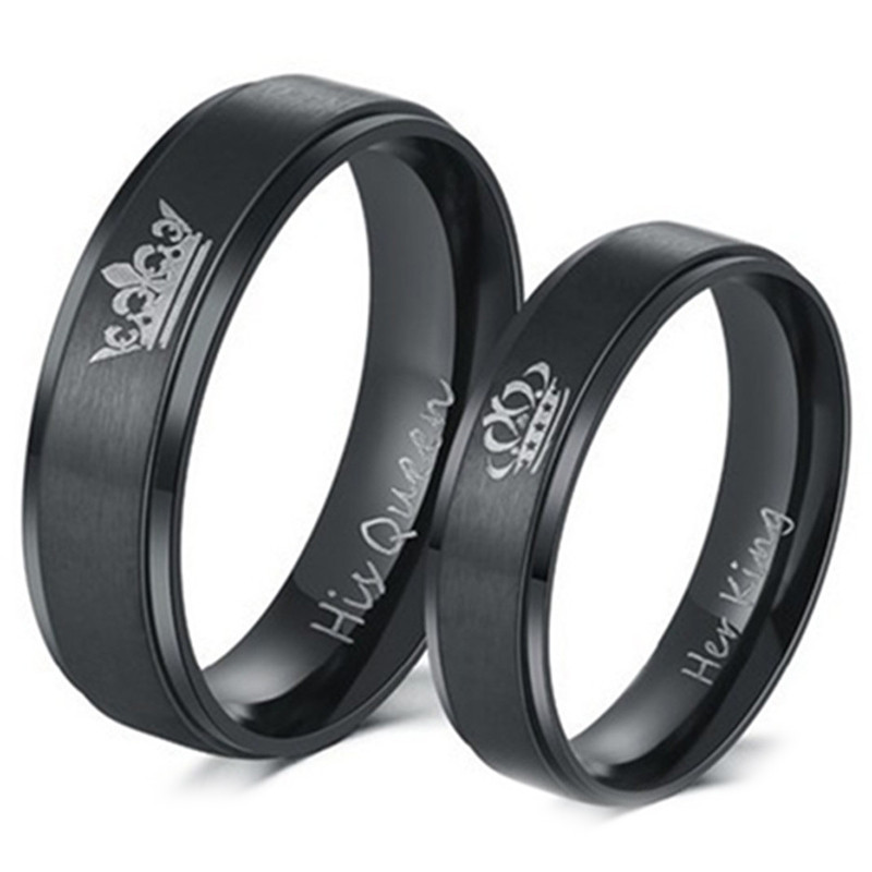 Fashion DIY Couple Jewelry Her King and His Queen Stainless Steel Wedding Rings for Women Men BLACK