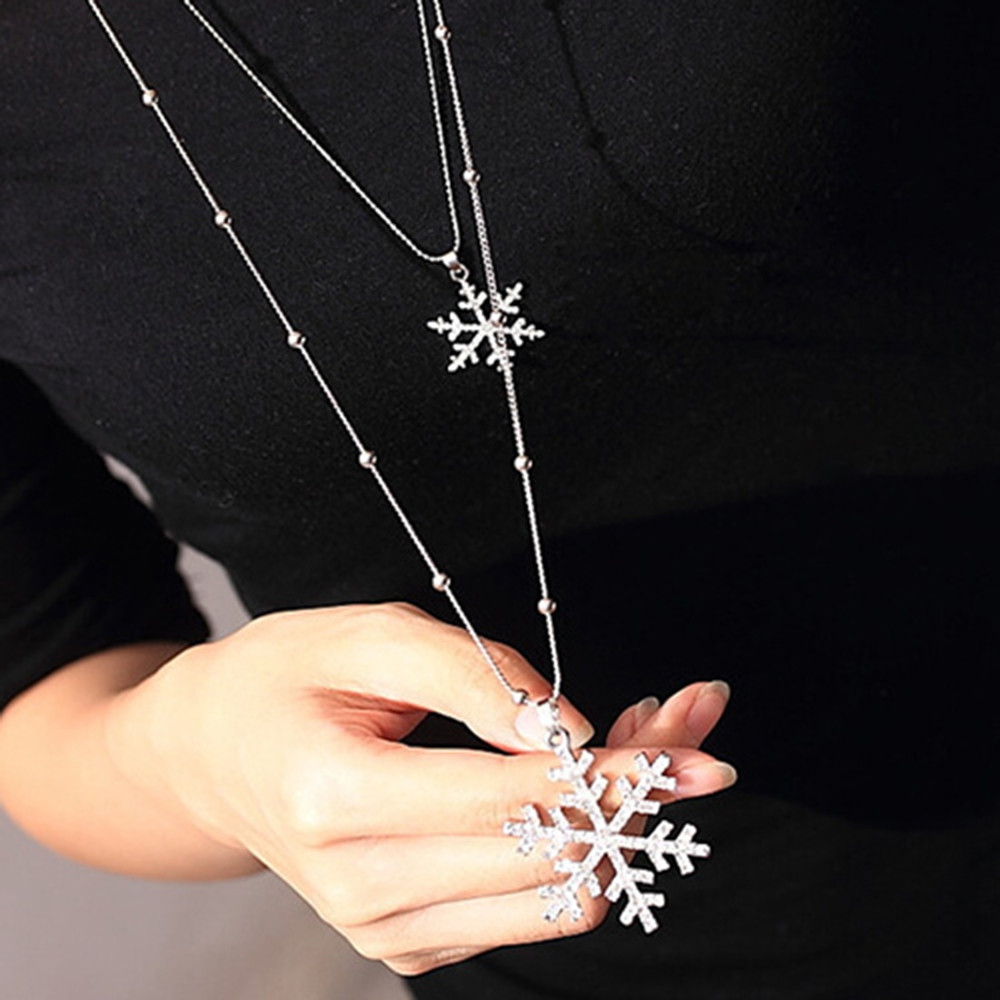 Stylish Layered Cut Out Rhinestone Snowflake Charm Sweater Chain For Women SILVER