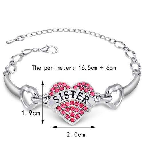 Rhinestone Engraving SISTER Heart Bracelet RED