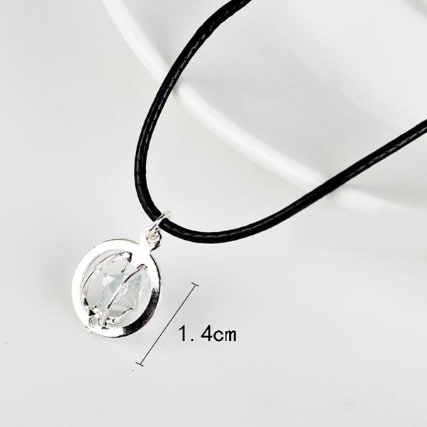 PU Leather Rope Rhinestone Circle Necklace SILVER