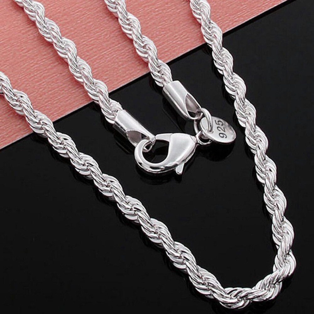 Mens 925 Sterling Silver Necklace Twisted Rope Chain 4mm SILVER