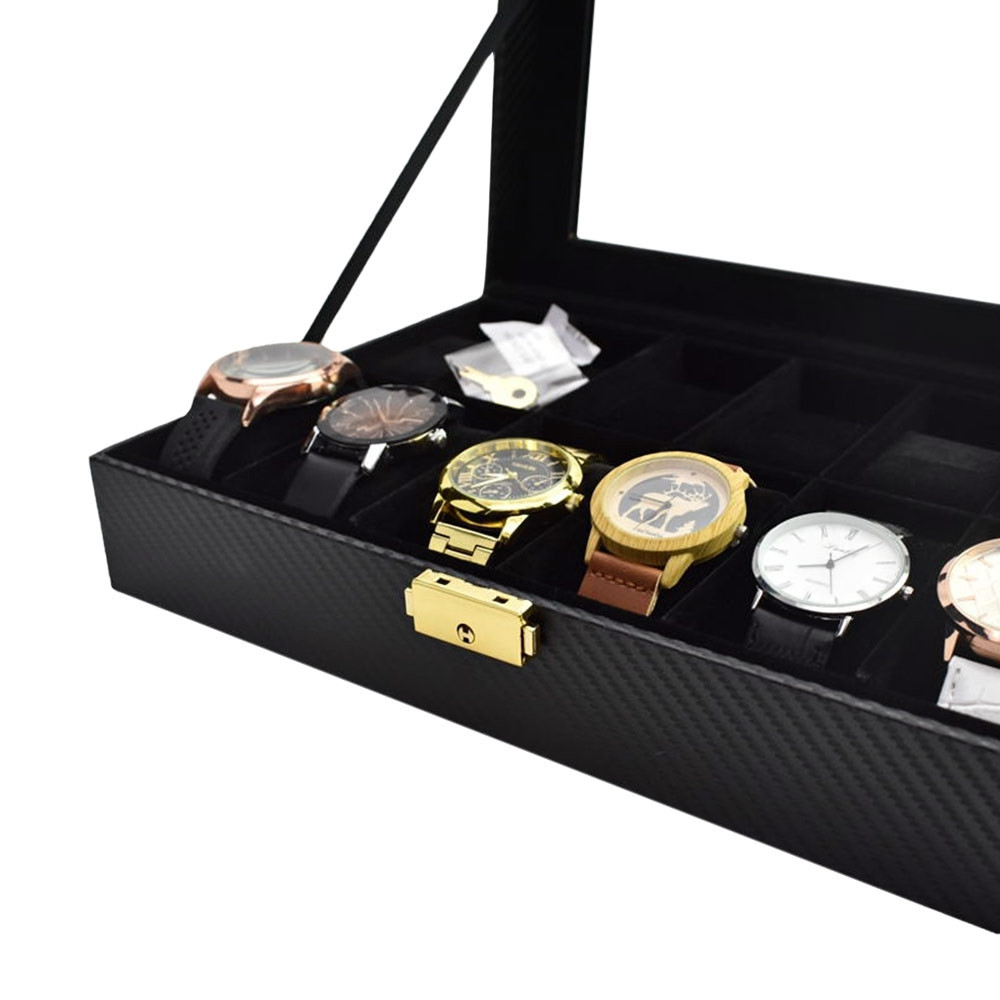 12-grid Carbon Fiber PU Watch Storage and Display Box with Black Plush  BLACK
