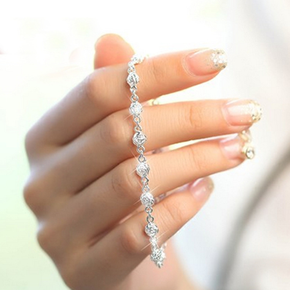 925 Sterling Silver  Bracelet Silver Chain Lady Women Jewelry SILVER