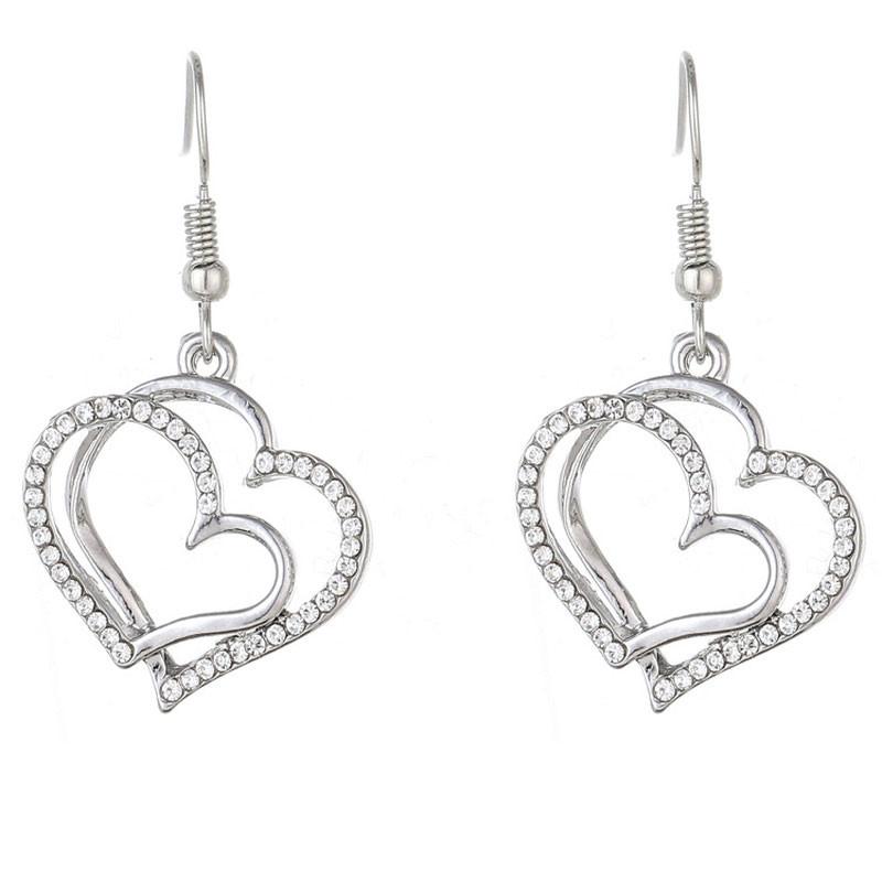 Fashion Bride Romantic Wedding Creative Heart Jewelry Set SILVER