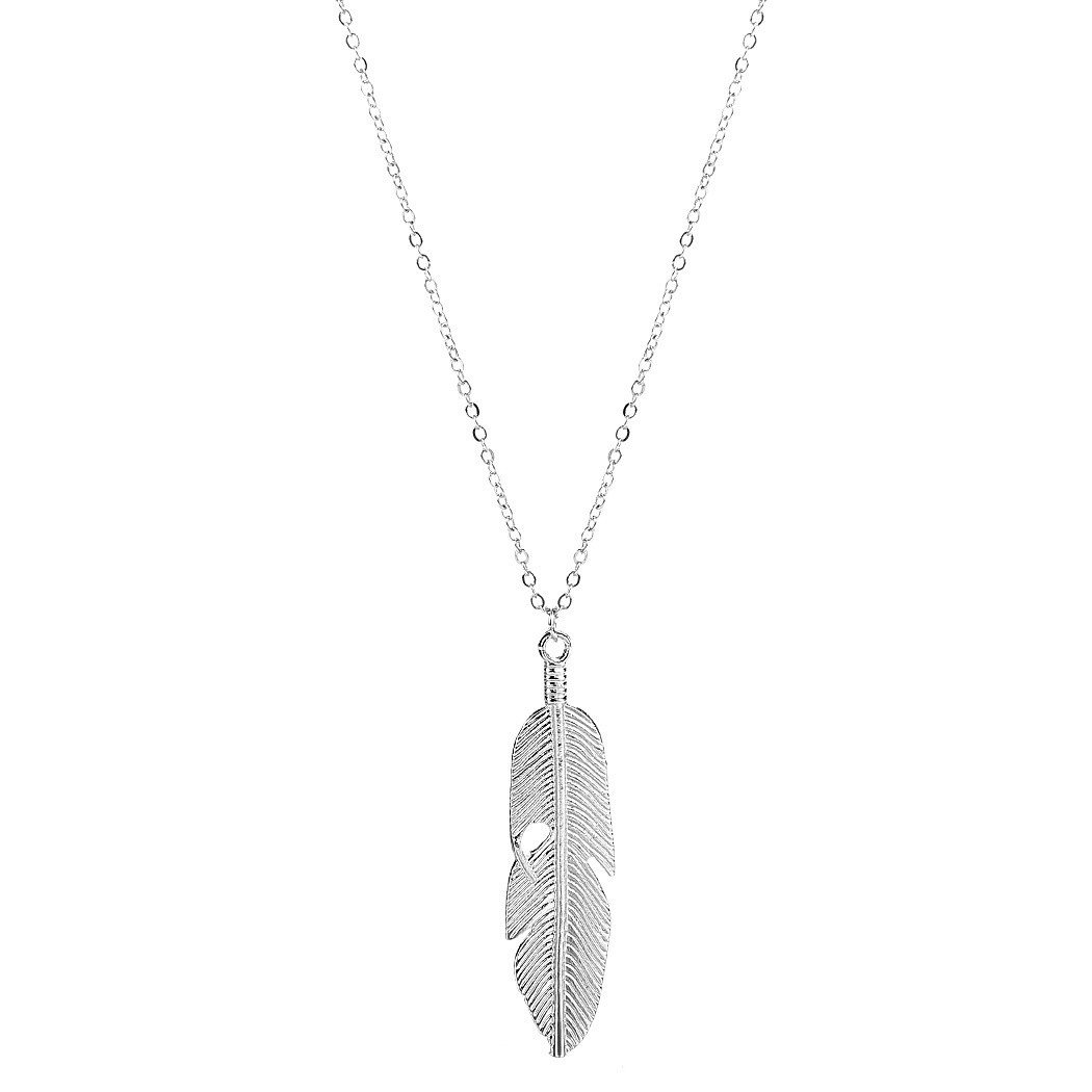 Fashion Women Jewelry Feather Pendant Chain Necklace Long Sweater Chain Statement Jewelry GOLD