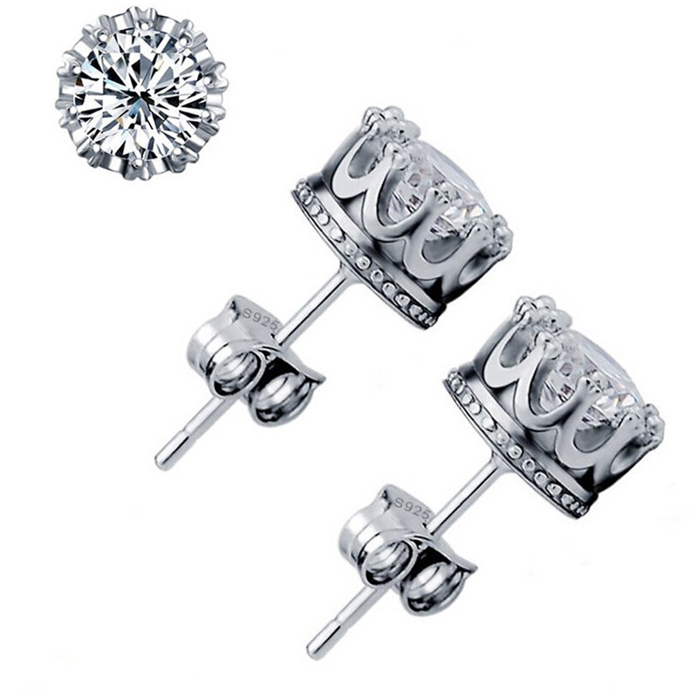 Fashion Sterling Silver Crystal Crown Pattern Stud Earing WHITE