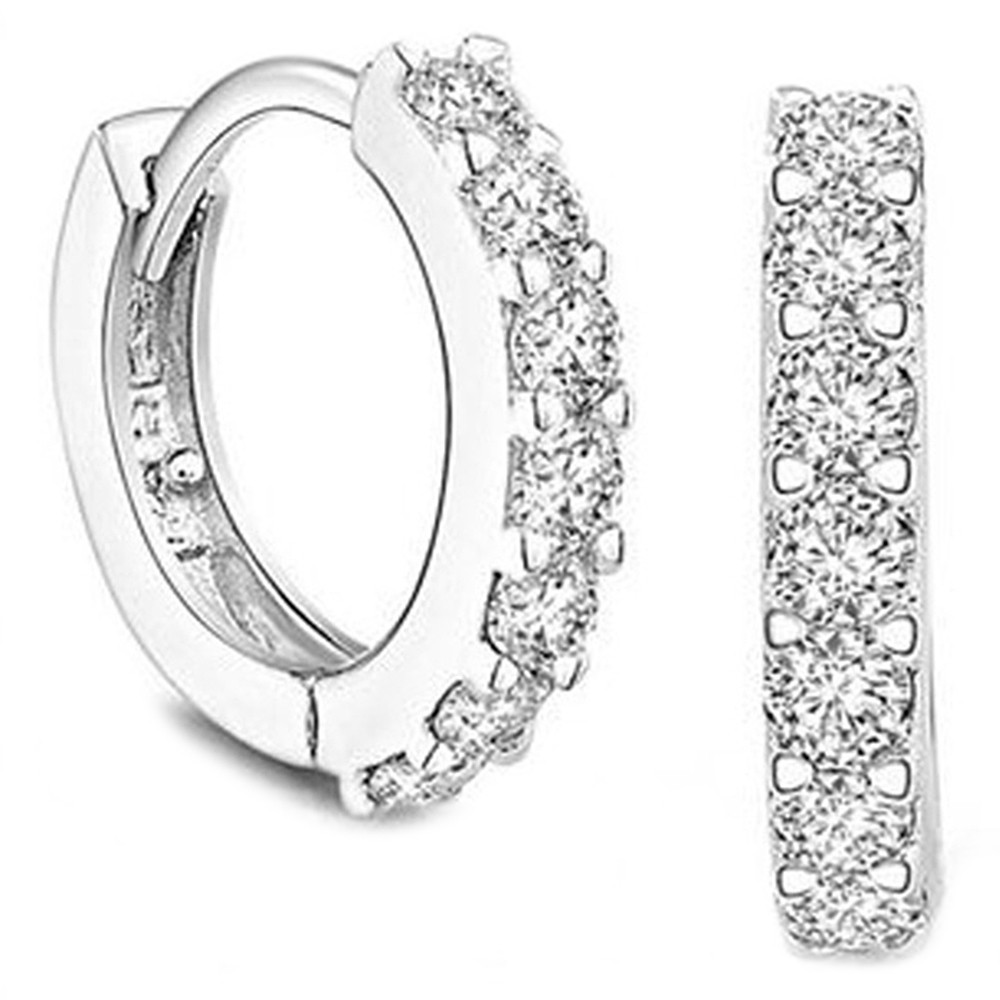 Sterling Silver White Paved Crystal Hoop Earrings SILVER