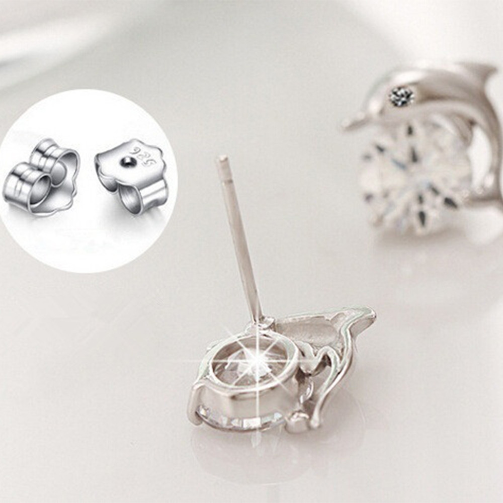 Pair of Lovely Crystal Eye Dolphin Stud Earrings  SILVER