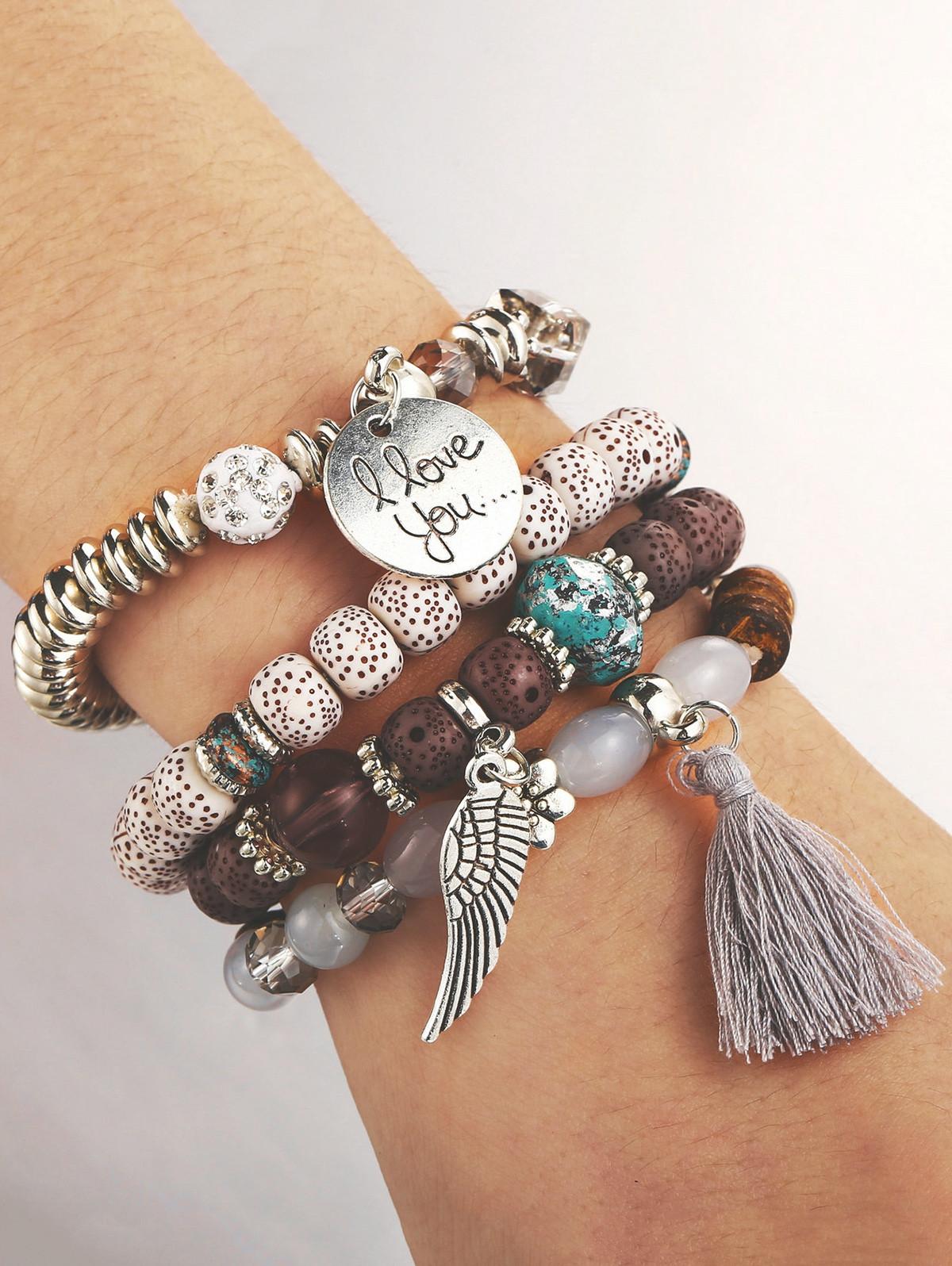 Bohemian Wing Beaded Bracelet Set GRAY