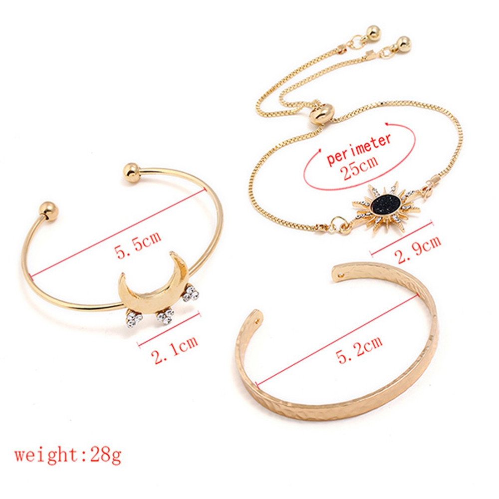 Rhinestone Sun Moon Shape Cuff Bracelets  GOLD