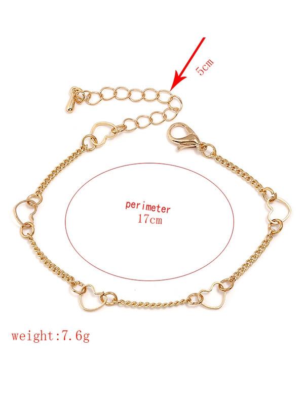 Heart Shape Chain Bracelet  GOLD