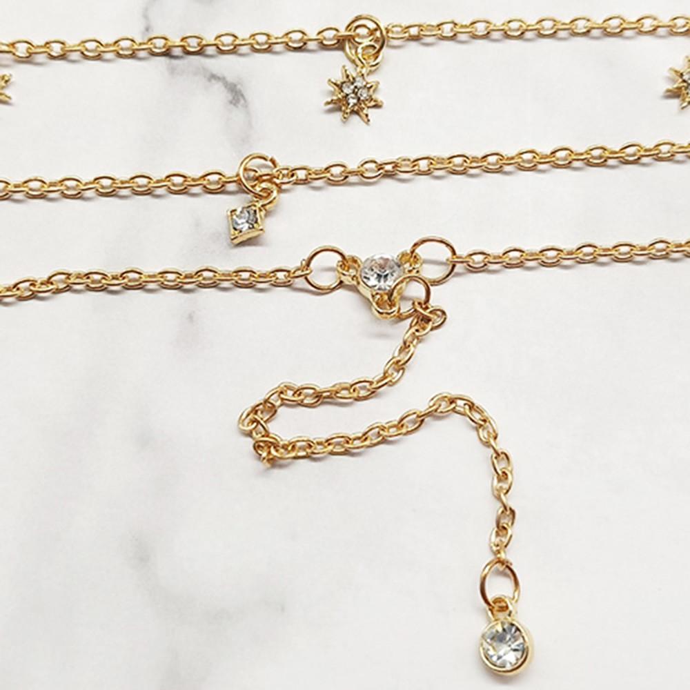 Layered Star Rhinestone Design Necklace GOLD