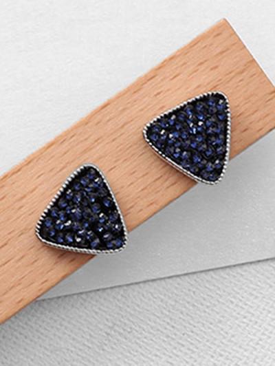 Geometric Rhinestone Design Earrings DEEP BLUE