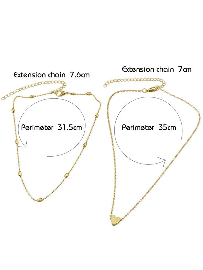 Heart Shape Design Layered Necklace  GOLD