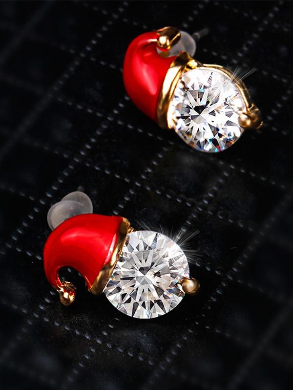 Christmas Hat Rhinestone Stud Earrings  RED