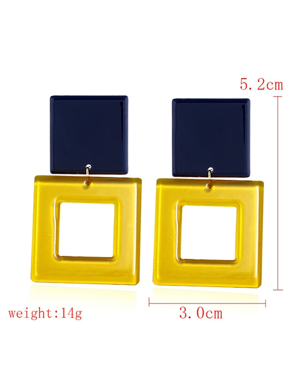 Acrylic Geometric Hollow Out Earrings YELLOW