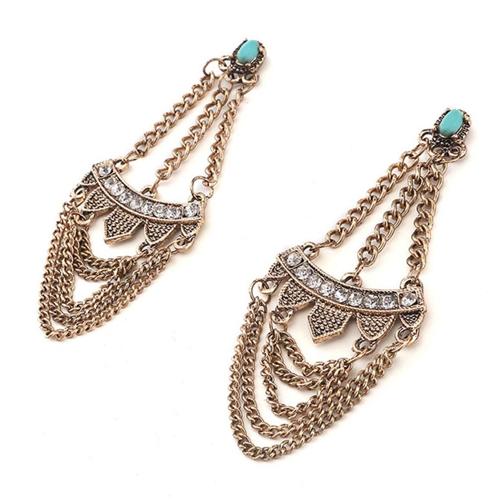Bohemian Style Tassel Drop Earrings GOLD