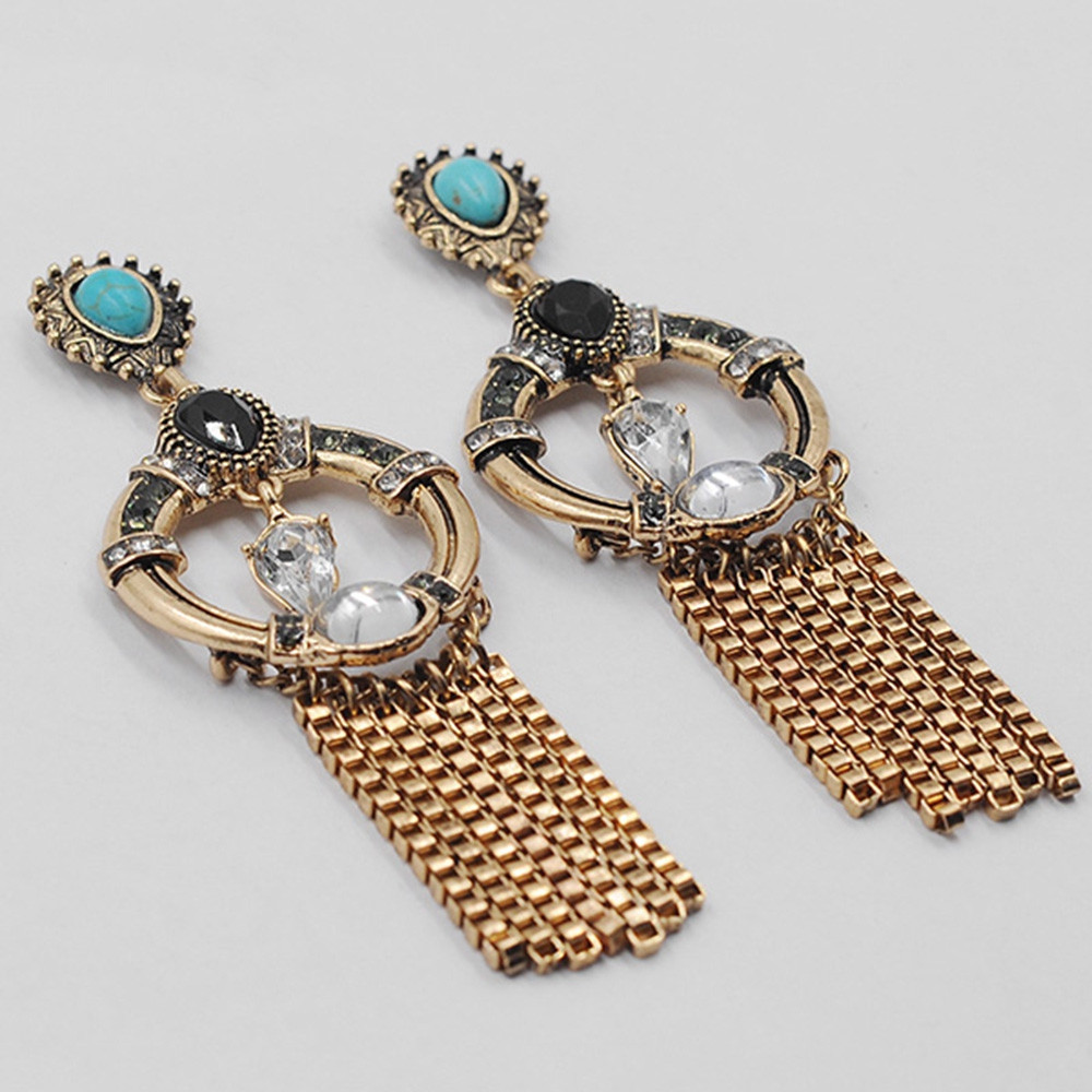 Artificial Turquoise Hollow Round Earrings GOLD
