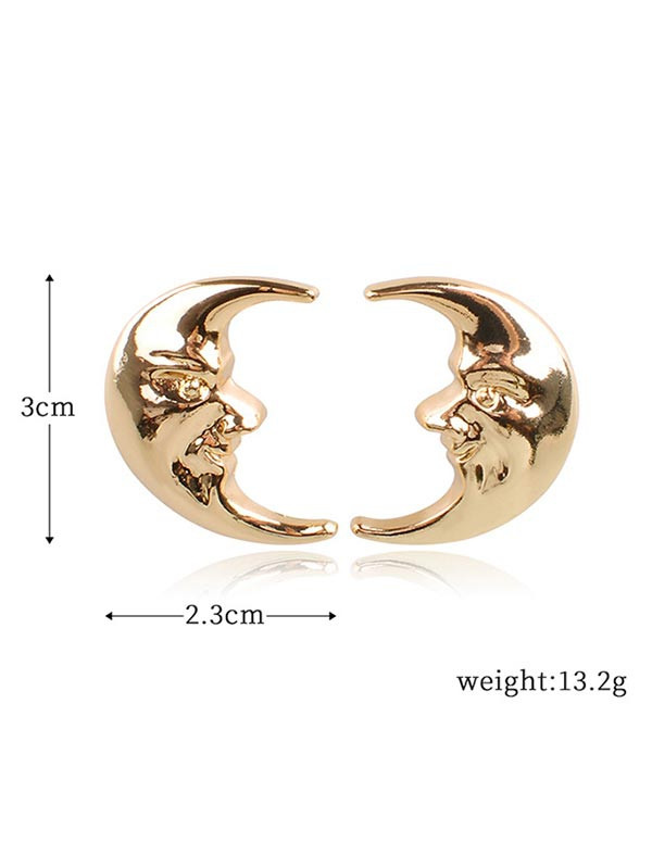 Alloy Moon Novelty Earrings  GOLD