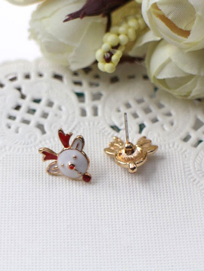 Christmas Elk Decorative Stud Earrings  WHITE