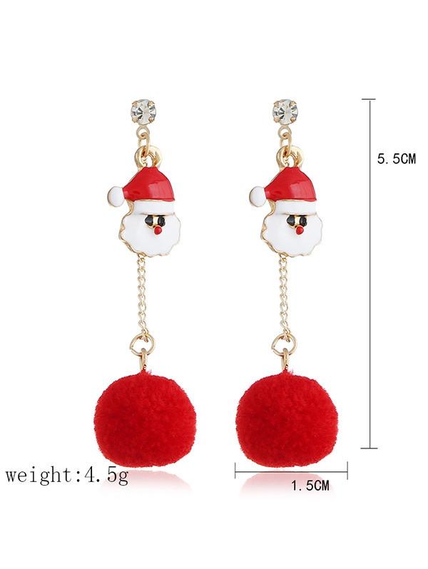 Cute Santa Claus Fuzzy Ball Drop Earrings  GOLD