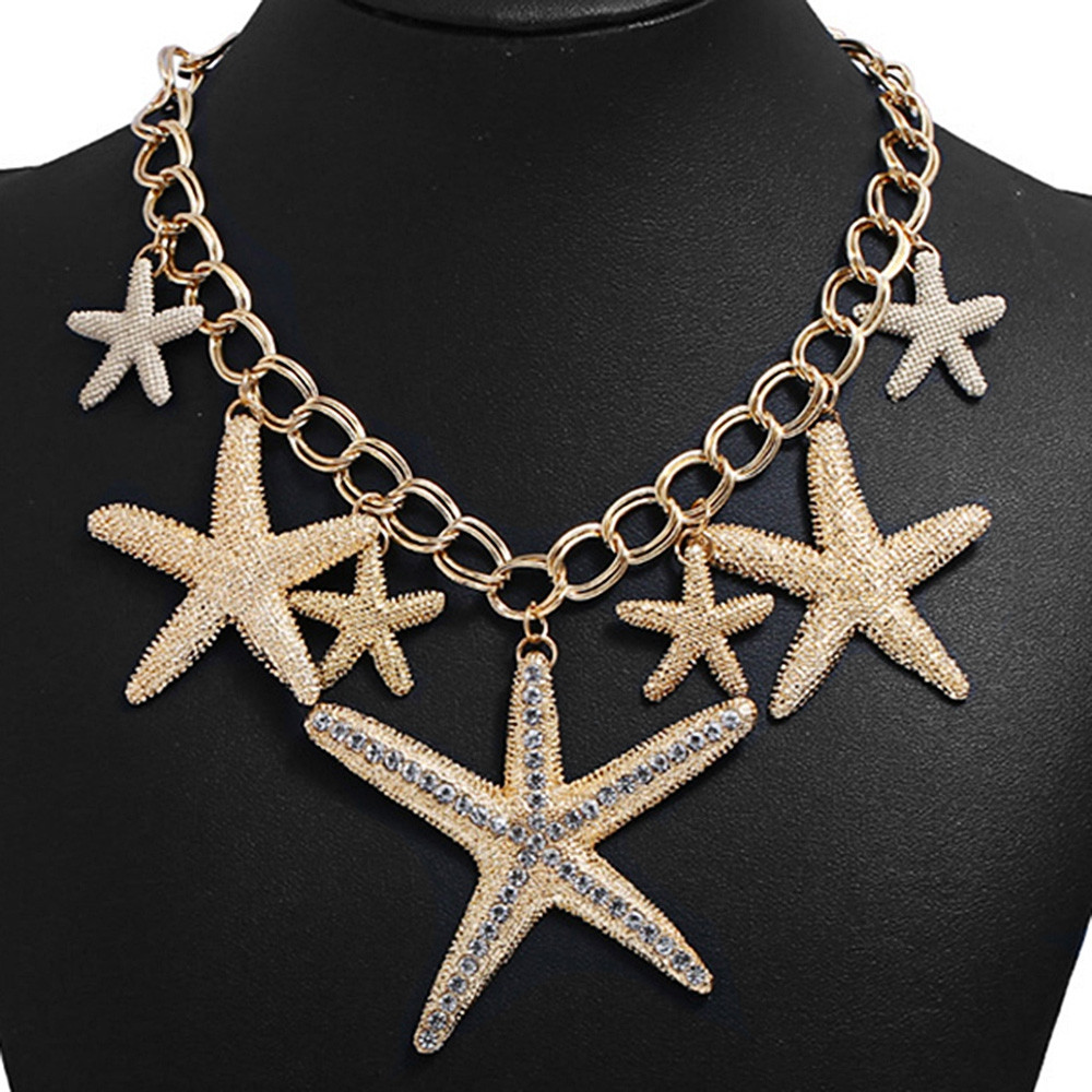 Rhinestone Starfishes Pendant Chain Necklace GOLD