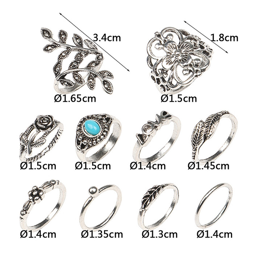 10 Pcs  Valentine\'s Day Leaf Flower Series Rings COLORMIX