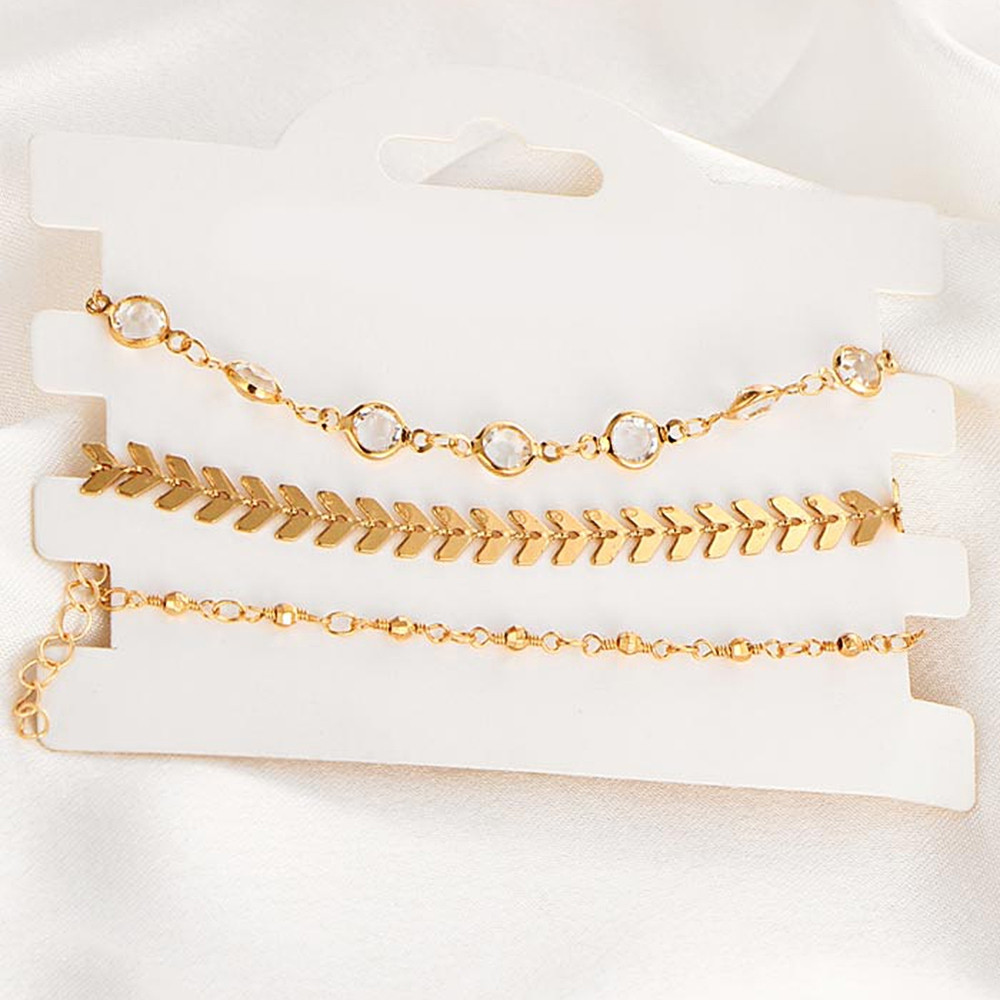 Rhinestone Arrow Decorative Alloy Ankle Bracelet Set  GOLD