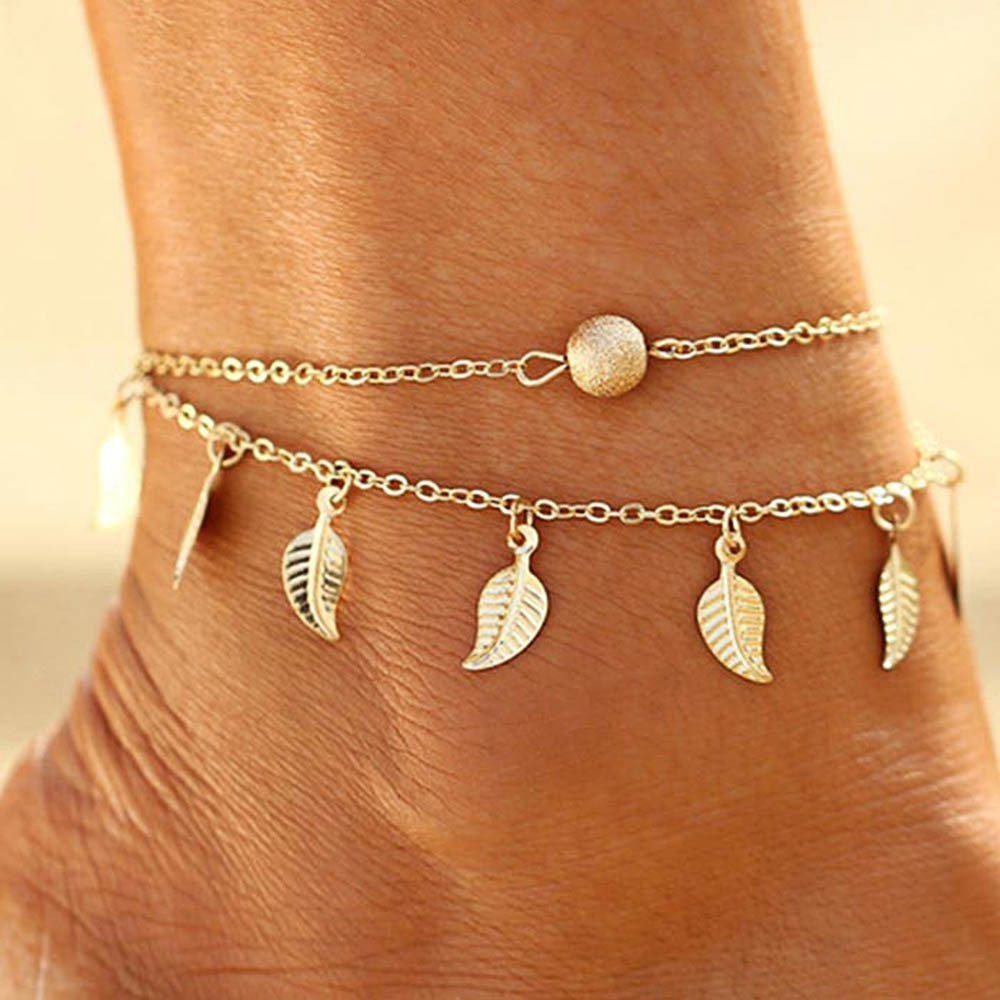 Vintage Double Layer Metal Leaf Ankle Bracelet GOLD